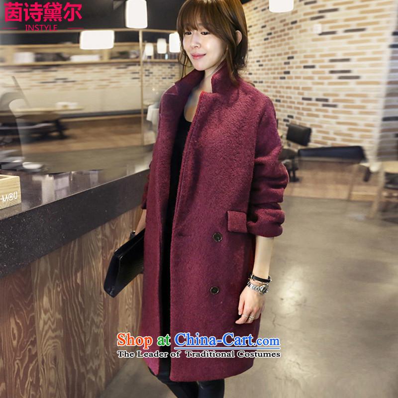 Athena Chu Poetry, 2015 Version won long coats gross? female Sau San wool coat female long-sleeved?? a wool coat 5582 wine red燲XL