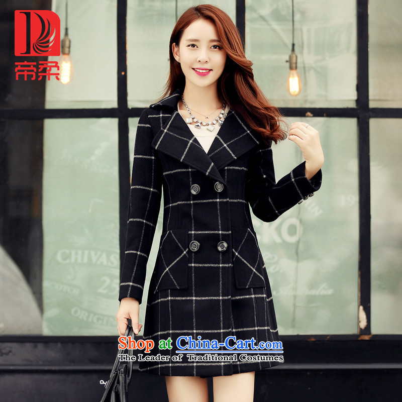 Dili Sophie _DIROU_ gross? 2015 female new coat Winter Female England latticed wool a wool coat black and white checkered DD617XXL