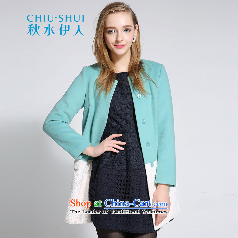 Chaplain who winter clothing new women's elegant lace stitching in long knocked long-sleeved round-neck collar gross coats gray and green 170_92A_XL?