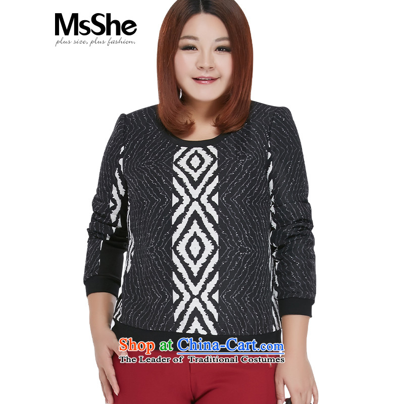 Msshe xl women 2015 new winter clothing 200 catties stylish stamp round-neck collar sweater knit sweater 10565 black on white flower聽3XL