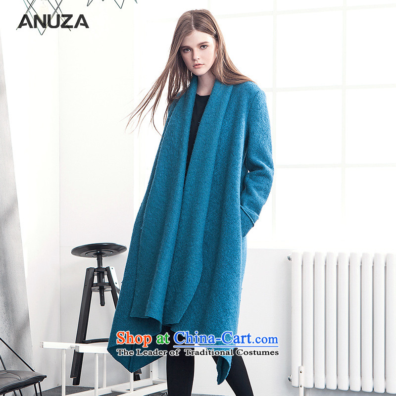 The autumn and winter knocked color ANUZA2015 lapel irregular loose set up conference in gross wool long coats? Jacket Blue�   M 爁or pp. 155-168