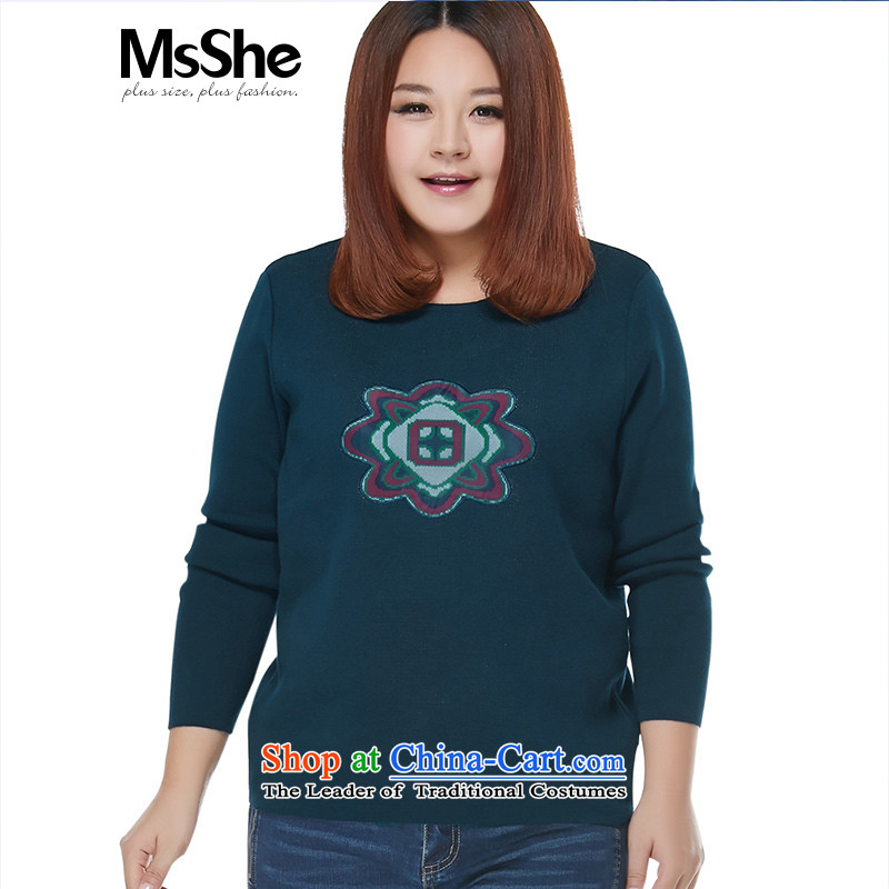Msshe xl women 2015 new autumn and winter Fat MM jacquard round-neck collar warm sweater pullovers blue5XL from 8396