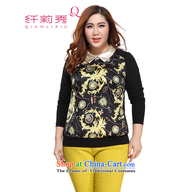 The former Yugoslavia Li Sau 2015 autumn large new mount female knocked color PU lapel stamp stretch long-sleeved shirt Foutune of 0832 Graphics thin black�L