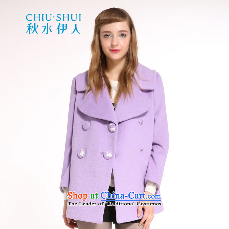 Chaplain who winter clothing new women's stylish reverse collar double-Korean wild wool warm jacket purple�5_88A_L gross?