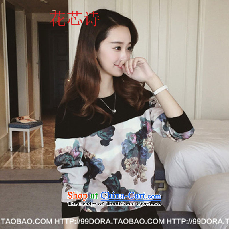 Take 2015 Autumn load chipset poetry new to increase women's thick mm sweater long-sleeved T-shirt, forming the Netherlands thick clothes Y037 sister black large XXXXL code