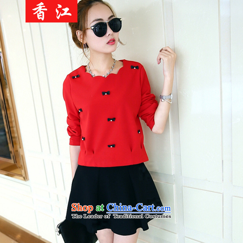 Xiang Jiang2015 Autumn 200 catties fatsos loose video thin to xl women's long-sleeved shirt, forming the pearl of the nails shirt dresses Kit6853red T-shirt + black skirt larger 4XL