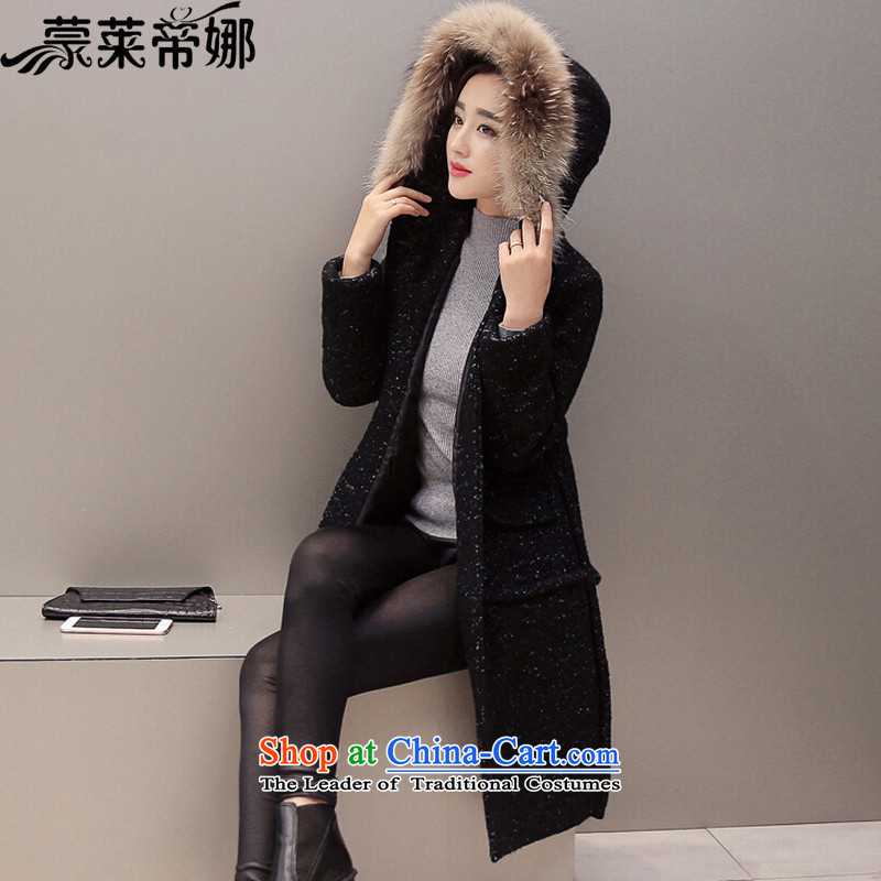 The 2015 Dili Blair Monrovia autumn and winter new women's coats female Korean version of this medium to long term, Western business suits Gross Gross Jacket coat?? female 797 black� L