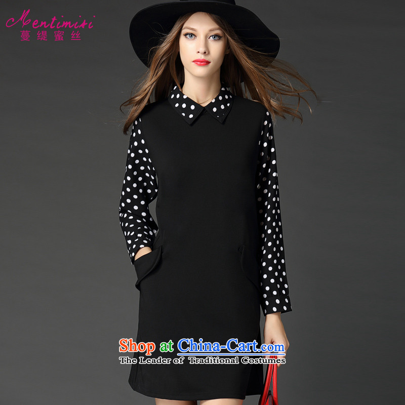 Overgrown Tomb economy honey silk extra load women fall thick mm wave point stitching leave two long-sleeved dresseslarge black 5XL 253.3 around 922.747 200