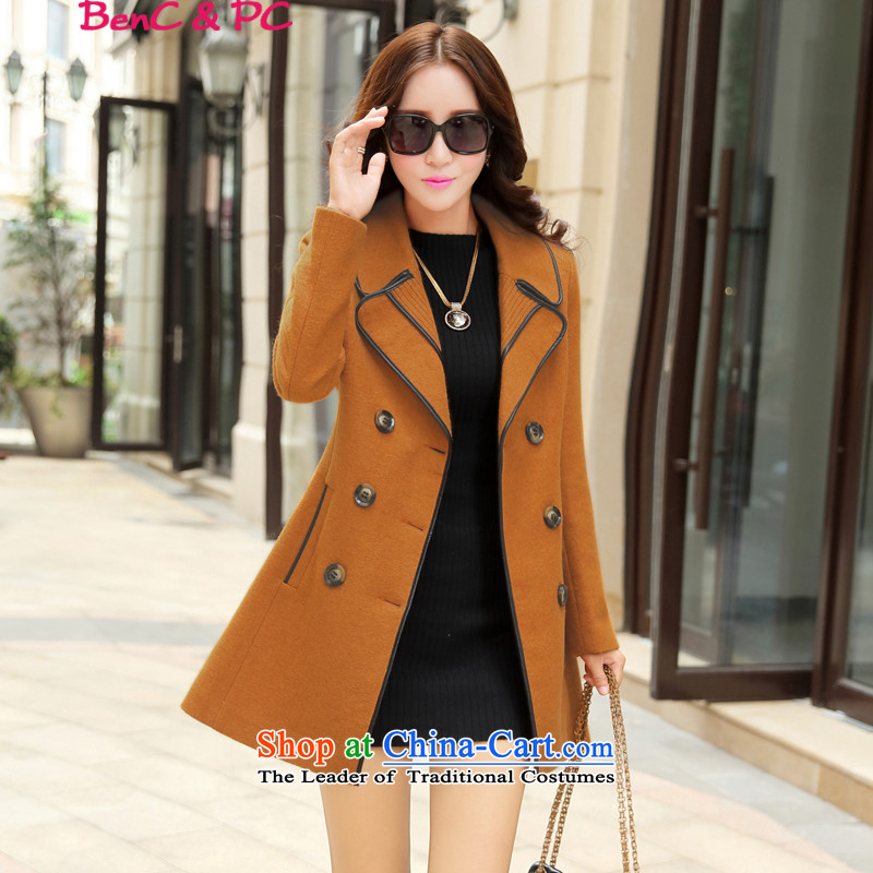 2015 Autumn and winter new Korean Modern graphics thin Western Wind, double-wild in the lapel long coats gross? Wind Jacket' Kim Ho聽XXL