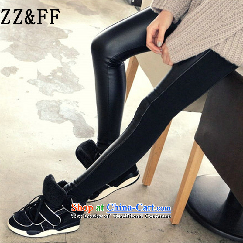 2015 Autumn and winter Zz&ff new Korean PU stitching elastic leather pants female thick MM THIN forming the video press the girl black XXXL( recommendations 140-160 characters catties)