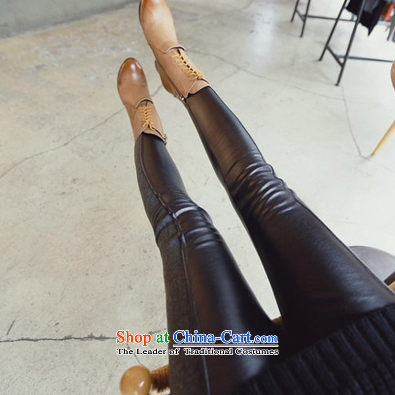 2015 Autumn and winter Zz&ff new Korean PU stitching elastic leather pants female thick MM THIN forming the video press the girl black XXXL( recommendations 140-160 characters catty ),ZZ&FF,,, shopping on the Internet