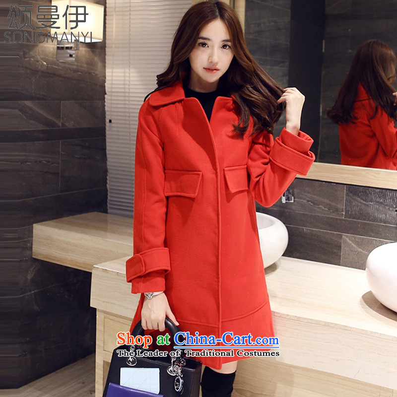 Chung Cayman El�15 autumn and winter new two-sided gross? long coats_?�19 sub-jacket female爋pium poppy RED燤