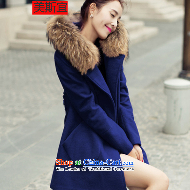 The US's� 2015 autumn and winter new Korean fashion Sau San? What gross coats wool coat female Dark Blue燤