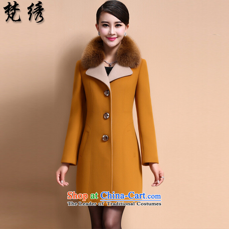 Van Gogh embroidery of autumn and winter 2015 new elderly women in the large long hair? 14566 Female Jacket coat 3XL yellow