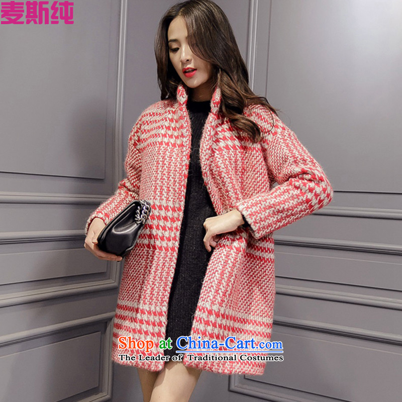 In?2015 autumn and winter pure new Korean version in the long hair of Sau San? coats thick jacket coat female MW80695? red grille?M