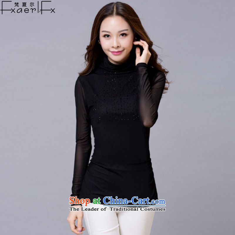 Van Gogh Sharma, spring and autumn 2015 new larger female body gauze forming the renovation of the Netherlands female high-collar long-sleeved T-shirt female video thin 718 Black XXL