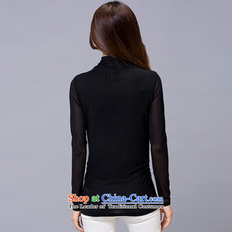 Van Gogh Sharma, spring and autumn 2015 new larger female body gauze forming the renovation of the Netherlands female high-collar long-sleeved T-shirt female video thin black XXL, 718 Van Gogh Sharma (fxaerl.fx) , , , shopping on the Internet