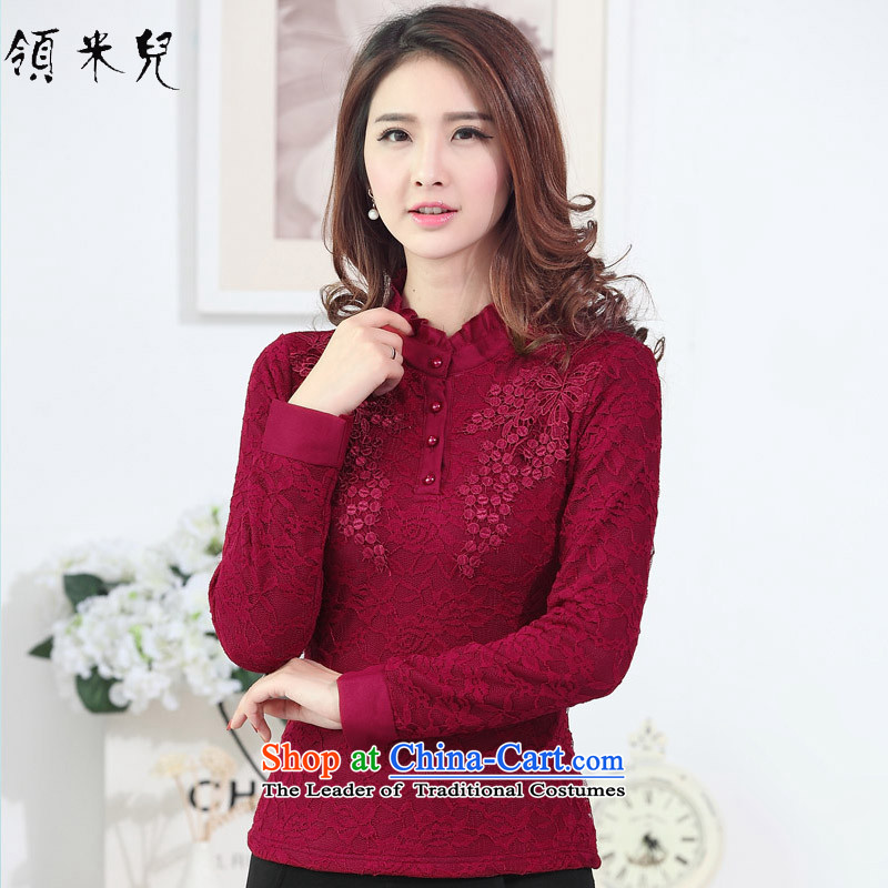 For M-?2015 to increase the number of women in autumn and winter new fat mm Sau San plus lint-free thick warm lace forming the Netherlands T-shirt M1949 deep red?3XL female