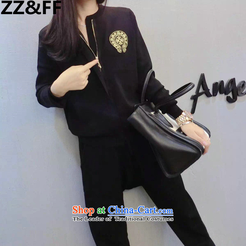 Install the latest Autumn 2015 Zz_ff_ larger female thick mm stylish temperament long-sleeved sweater pants and two piece leisure sports suits female black燲XXL_ recommendations 140-160 characters catties_
