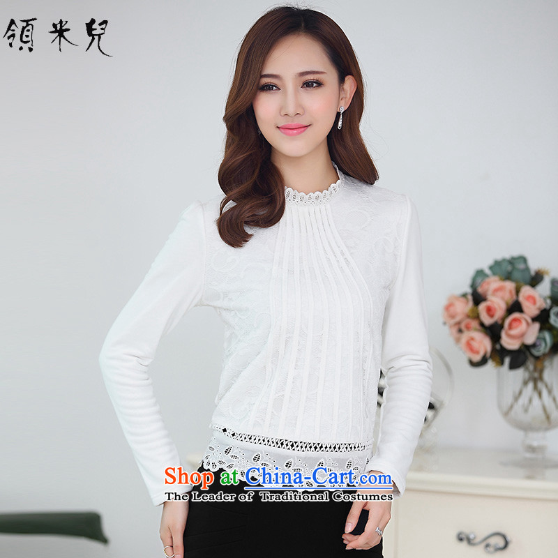 For M-2015 to increase the number of women in autumn and winter new Korean version of fat mm plus lint-free warm thick lace hook, forming the flower of the Netherlands T-shirt M1521 female white4XL