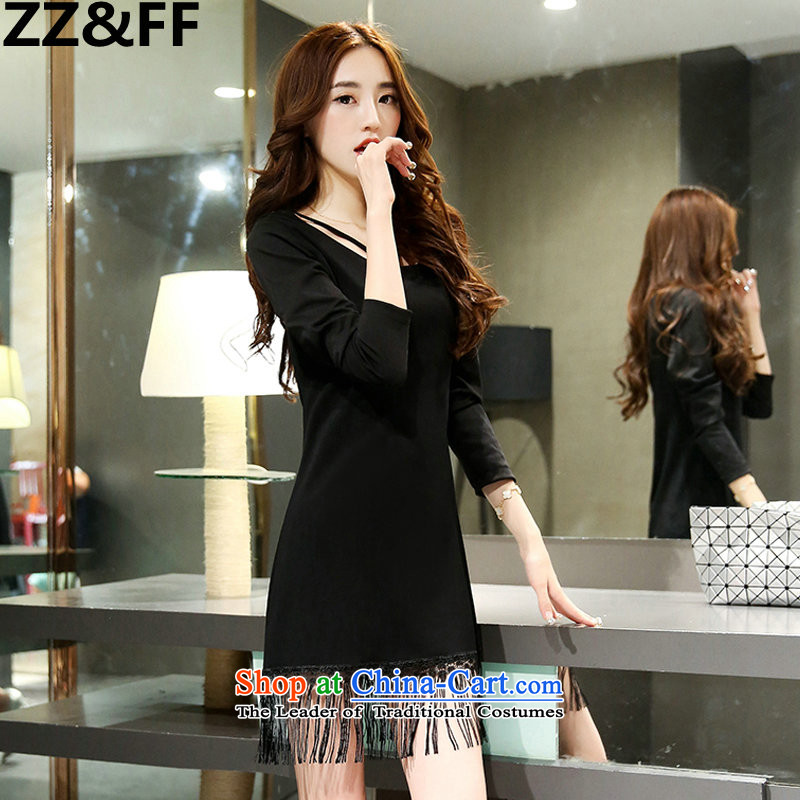 Zz_ff 聽autumn large code mm thick female thick sister video thin stylish look like   Stream soda bottom long-sleeved dresses classic black聽XXXL_160-185_