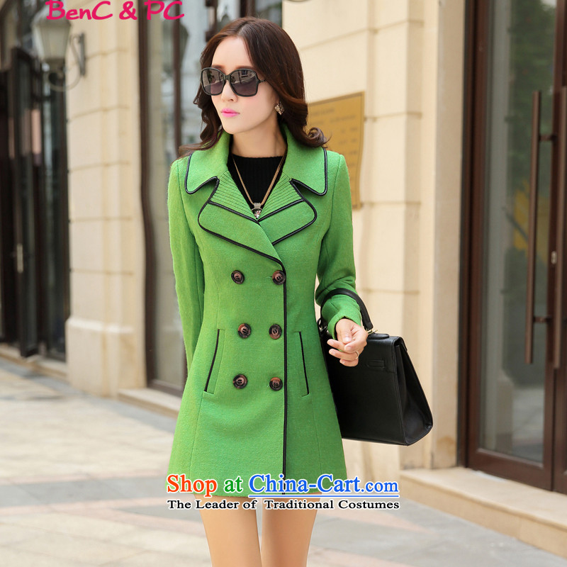2015 Autumn and winter new Korean Modern graphics thin Western Wind, double-wild in the lapel long coats gross? Wind Jacket female green燲L