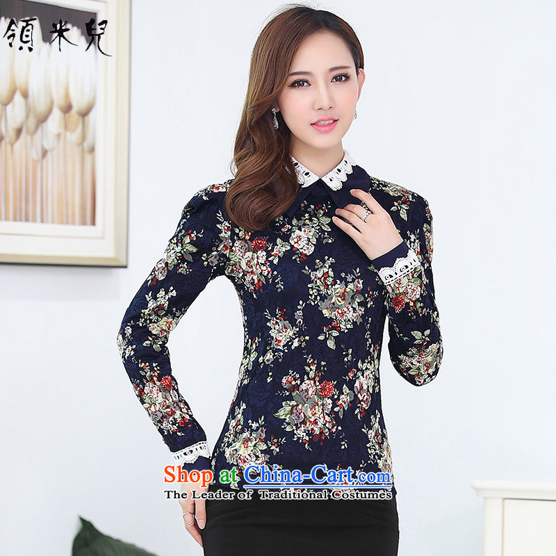 For M-�15 to increase the number of women in autumn and winter new fat mm Sau San plus lint-free thick warm stamp forming the lace shirt T-shirt female�L blue