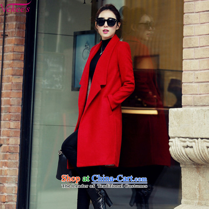 Vekee's爂ross?�15 autumn and winter coats female Korean version of the new long solid color Large thick coat�109爐hin red_燲L