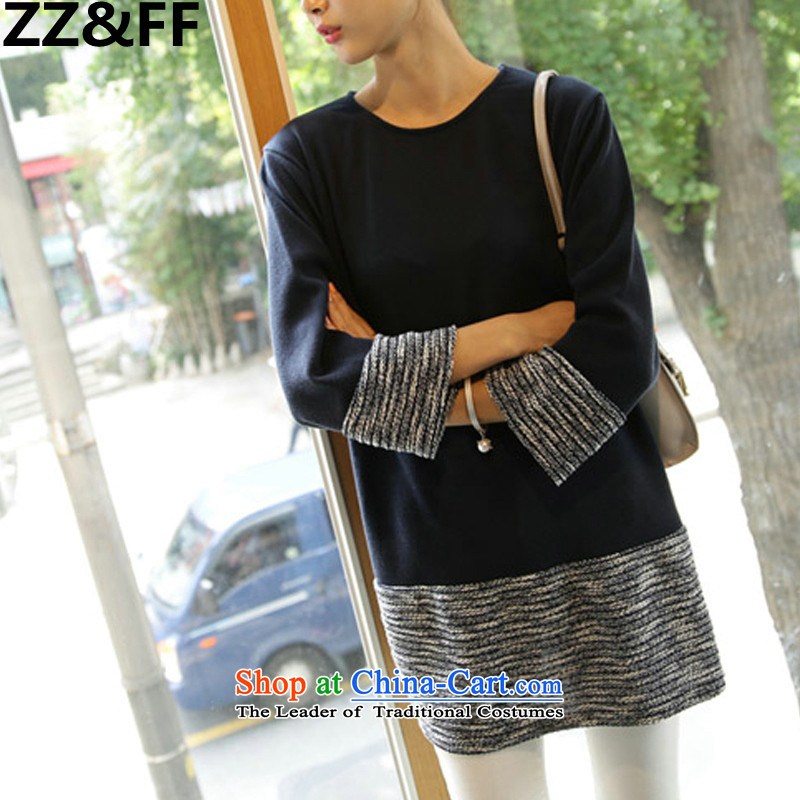 The new 2015 Zz_ff autumn and winter to increase women's code thick MM stitching. Long loose video thin large women wear dark blue shirt燲XXXXL_ recommendations 180-200 catties_