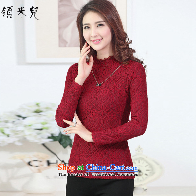 For M- 2015 to increase the number of women in autumn and winter new fat mm Sau San plus lint-free thick warm lace forming the Netherlands long-sleeved T-shirt M0960 female red 3XL