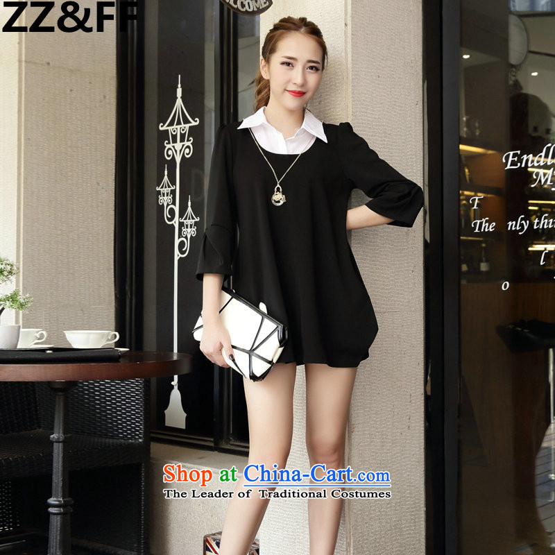 2015 New Korea Zz_ff edition fall female false Two Foutune of video for 9 thin shirt-sleeves for larger MM thick black skirt XXXXXL