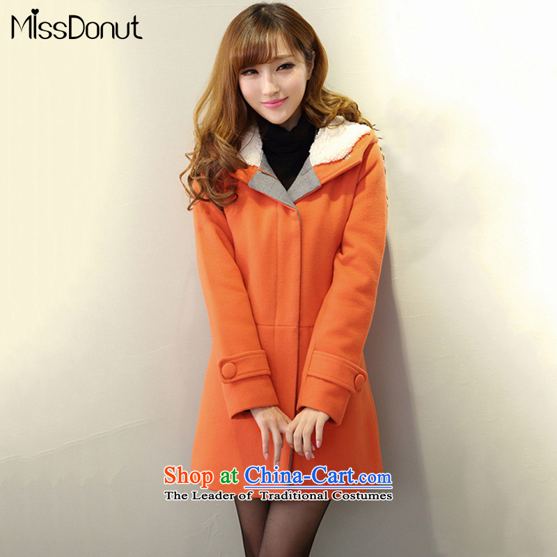 The ad to increase missdonut Code women's gross coats 200 jin when autumn and winter Korean thick mm in length) Video sister thin thick hoodie orange larger 4XL recommendations 180-200 catty