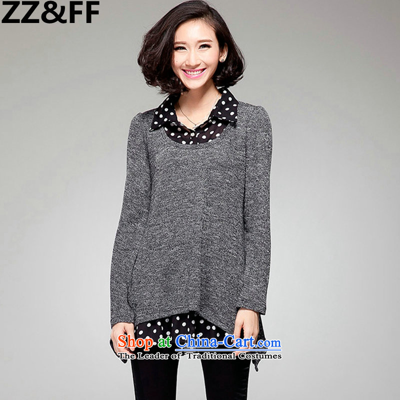 2015 new large Zz&ff Code women thick mm thick sister Korea Load Fall edition leave two long-sleeved Pullover knitwear T-shirt XXXXXL Gray