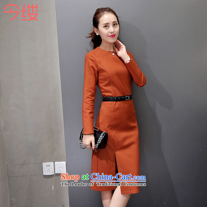 This autumn 2015, large courage, women's temperament video thin long-sleeved package and dresses 8816 Orange _sent belt_ XL