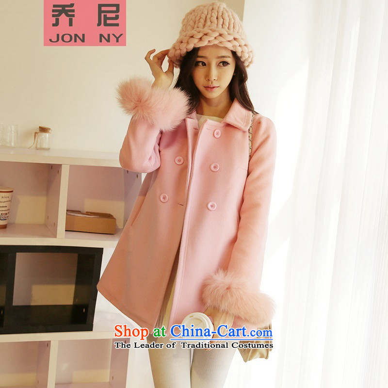 2015 Autumn and winter girls sweet preppy a wool coat female Korean students in the thick long wool coat pink? Really Gross Gross cuffS