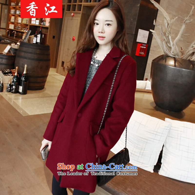 Xiang Jiang ad to increase women's code thick MM autumn 2015, replacing the new graphics in the thin long hair? thick sister 200 catties cardigan COAT�29爈arge 5XL wine red