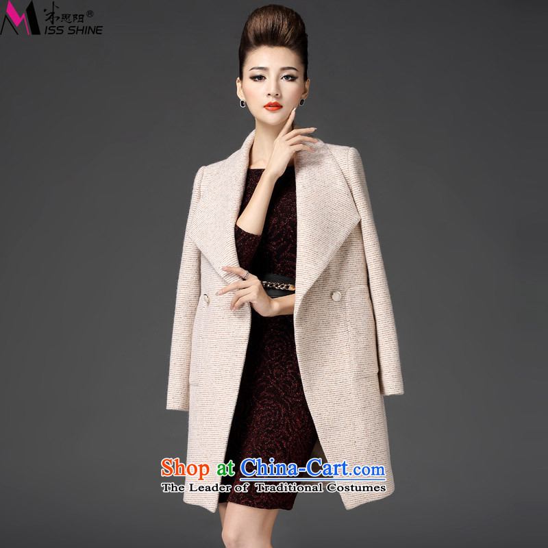 Meath Yang original estimates should be 2015 autumn and winter new products long-sleeved double-Sau San larger women's gross apricot overcoat S?