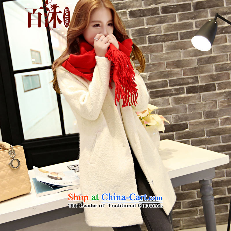 Hundreds of a jacket women bathing in the 2015 Fall_Winter Collections new gross?   in the Korean version of the jacket long a wool coat women 1628 White 1 S