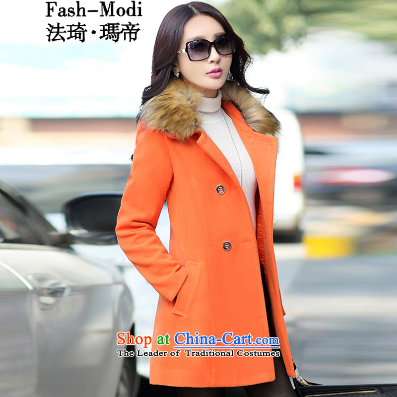 The law was in Dili Qi 2015 autumn and winter new Korean Sau San video thin nagymaros for long thick hair? coats female double-a large mm thick coat female orange 08 with high wool collar燲XL