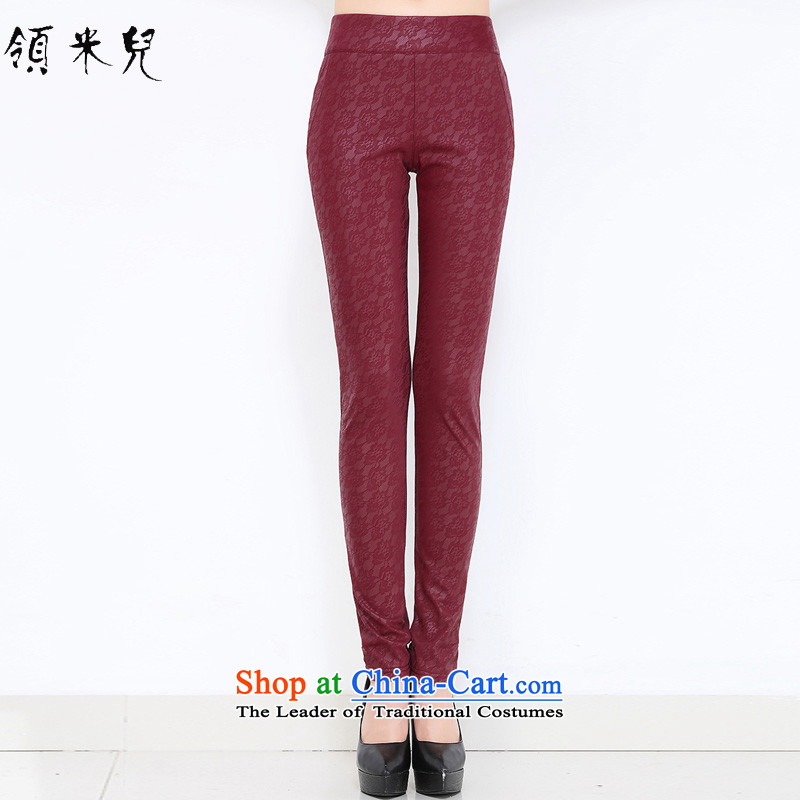 For M-?2015 to increase the number of women in the autumn of New mm thick video plus thin-Sau San warm leather pants female pant M902 red?XL