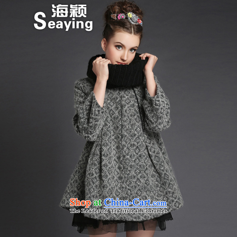 2015 Autumn and winter sea from the new Europe and the larger women's temperament thick sister jacket A typeface loose grating wool coat female G286??M Gray
