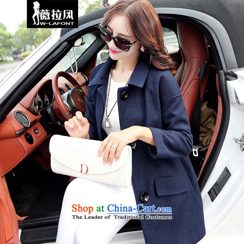 Vera wind 2015 autumn and winter large new women's gross girls jacket? Long Korean single row detained?   sub-coats female navyL