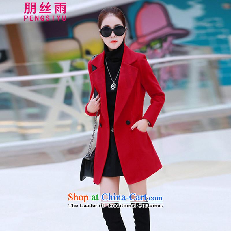 Alec Su silk rain jacket female 2015 gross? autumn and winter new Korean Sau San video thin coat women's temperament, long, stylish lapel a wool coat redXL