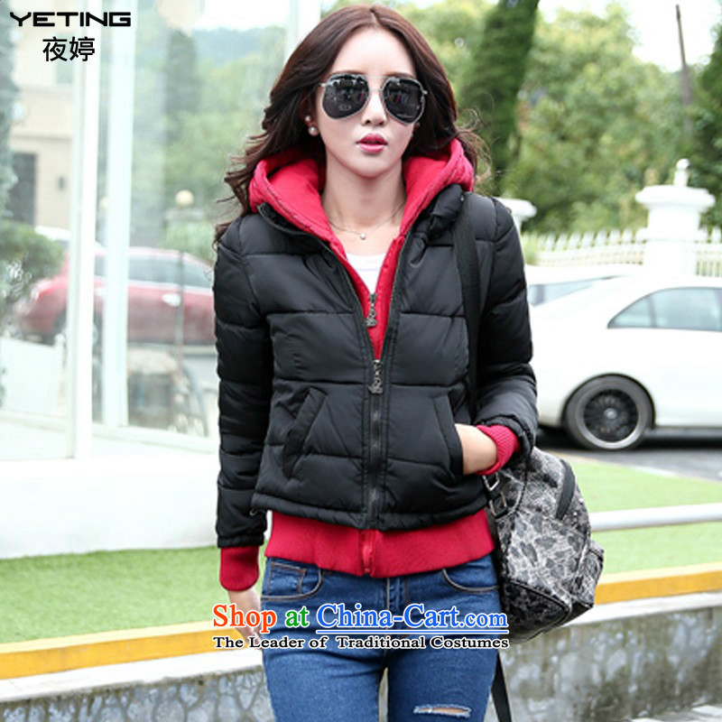 Night-ting 2015 winter clothing new leisure short of thick cotton Women's Code Cap cotton coat 1465 Black XL