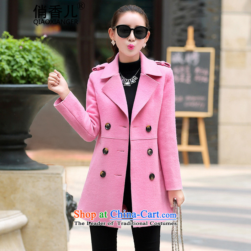 Forautumn and winter 2015-heung-new ladies hair? Jacket Korean modern long-sleeved double-elegant graphics in temperament thin long hair? overcoat female pinkM