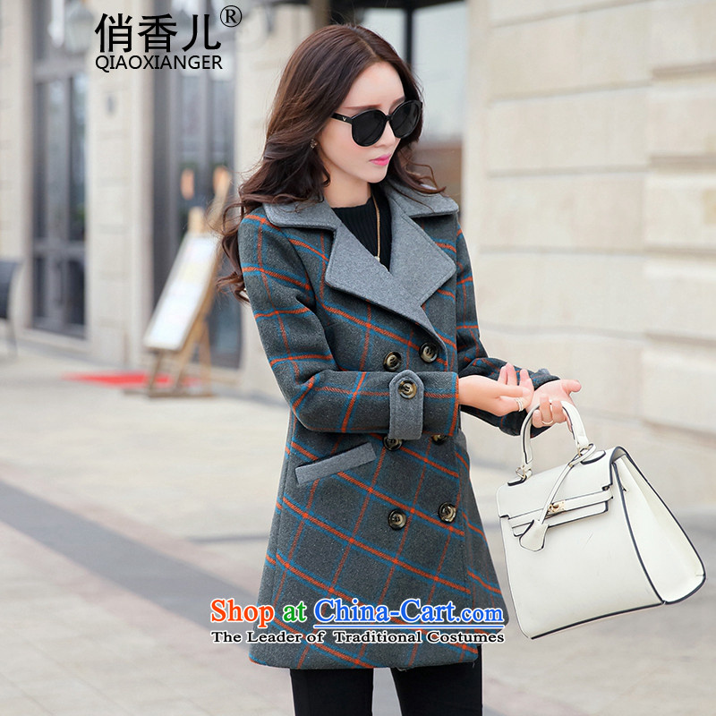 For?autumn and winter 2015-heung-new ladies hair? Jacket Korean fashion, double-temperament elegant graphics thin-long overcoat so gross latticed female gray cells?M