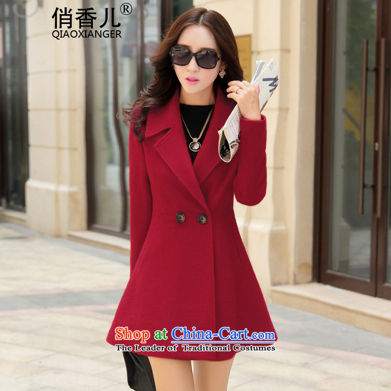 For autumn and winter 2015-heung-new ladies hair? Jacket Korean modern long-sleeved double-elegant graphics in temperament thin long hair? overcoat female RED M