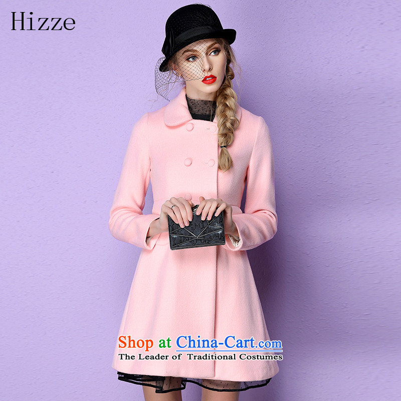 燭he European site stylish beauty hizze long coats female double-wool a wool coat leisure gross? 2015 autumn and winter coats female new pink 1 L