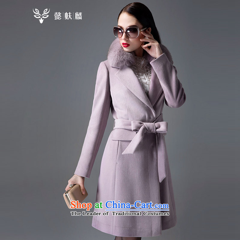 Headquarters or gross for Fox Chu woolen coat girl in long 2015 new Korean autumn and winter coats of Sau San video gross? thin hair and powder coat?M