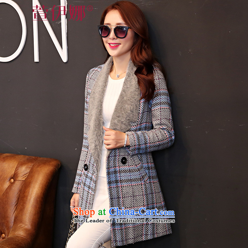 Xuan ina 2015 autumn and winter coats gross new female Korean?   in long chidori lapel of wild stylish long-sleeved jacket female MSY628 gross? light blue checkered L
